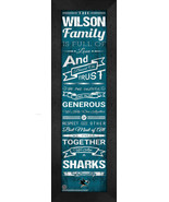 "Personalized San Jose Sharks ""Family Cheer"" 24 x 8 Framed Print - $39.95"