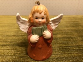 VTG GOEBEL Angel Bell 1983 Christmas Tree Ornament Brown  - $9.85