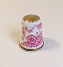 Arita Spode Thimble Vintage Fine Bone China England Red White Gold Trim - $20.00