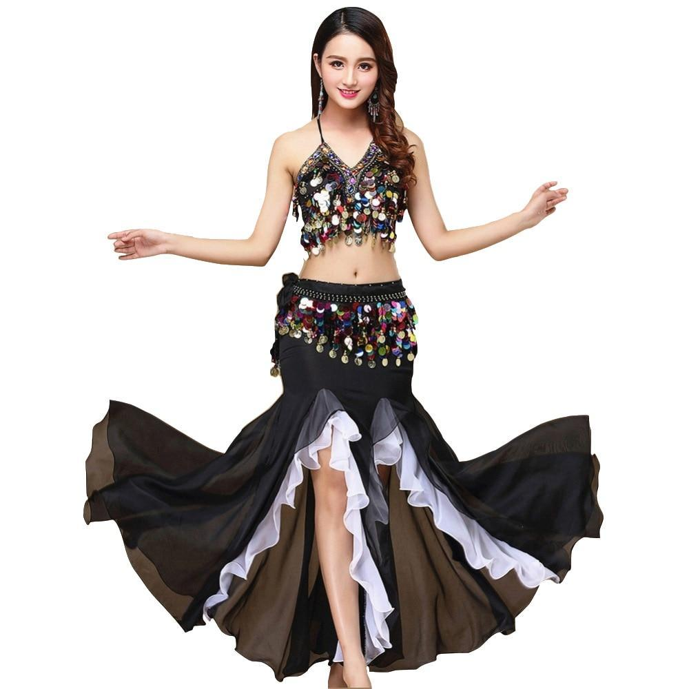 Lors belly dance costume women dance coins tops for slim gilrs bellydance sequins beaded outfits