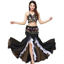 9 Colors Professional Belly Dancer Sequin Beaded Outfits Bra Belt Skirt image 1