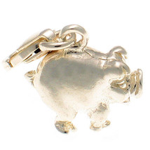 Happy Fat Pig Farm Charm Sterling 925 Silver With Lobster Clip by Welded Bliss - $19.46