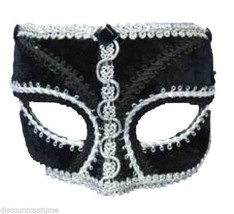 Black Velvet Venetian Style Mardi Gras Masquerade Mask w/SILVER Trim - $13.91