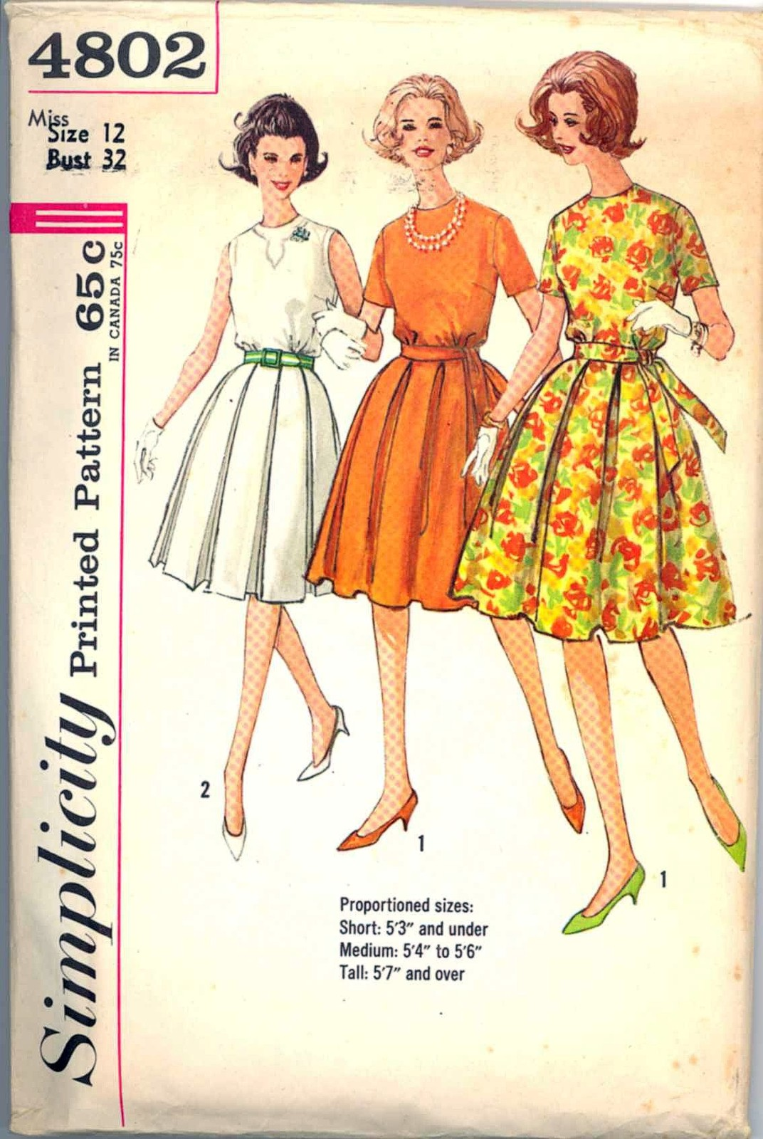 Primary image for 1960s Size 12 Bust 32 Proportioned Dress Pleated Skirt Simplicity 4802 Pattern