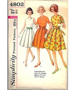 1960s Size 12 Bust 32 Proportioned Dress Pleated Skirt Simplicity 4802 P... - $9.99
