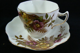 Rosina Bone China Tea Cup & Saucer Set Floral Pattern Gold Gilt Accents - $38.81