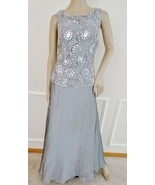 New Patra Lace Sequin Full Length Evening Prom Dress Gown Sz 14 Metallic... - $59.35