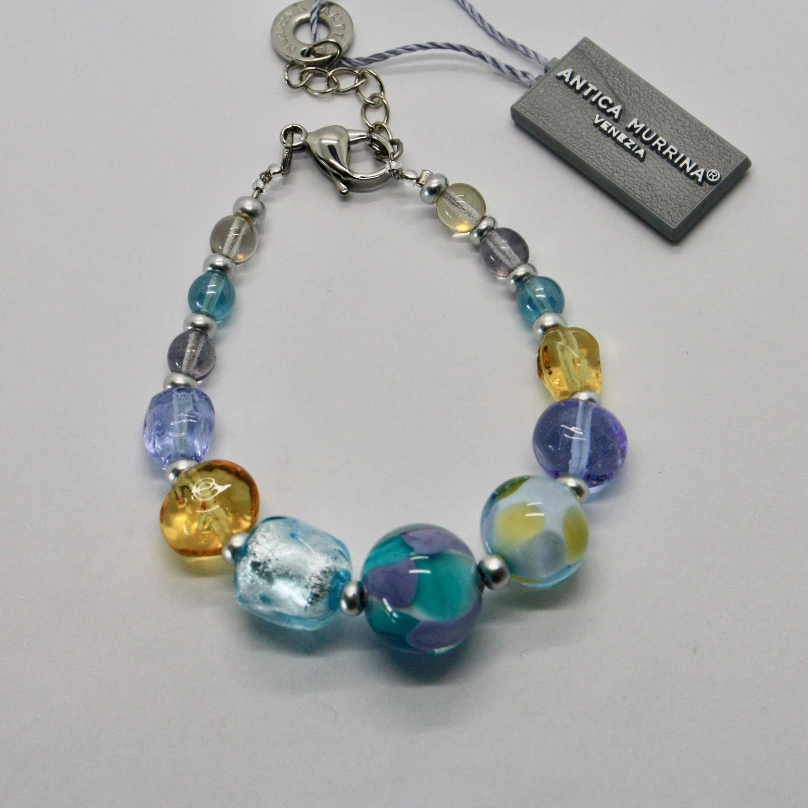 BRACELET ANTICA MURRINA VENEZIA WITH MURANO GLASS BLUE YELLOW PURPLE BR799A07
