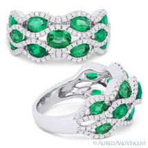 2.71ct Oval Cut Emerald & Diamond Pave Right-Hand Fashion Ring in 18k Wh... - £4,322.98 GBP