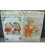 Hallmark Christmas Puzzle Cards Kitty and Puppy Rub Noses Santa and Rudo... - $20.00