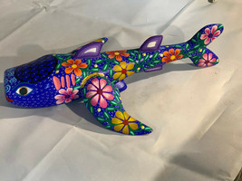 Coy Fish Alebrije Sitting Hand Painted Oaxacan Wood Carving Oaxaca Mexic... - $59.39