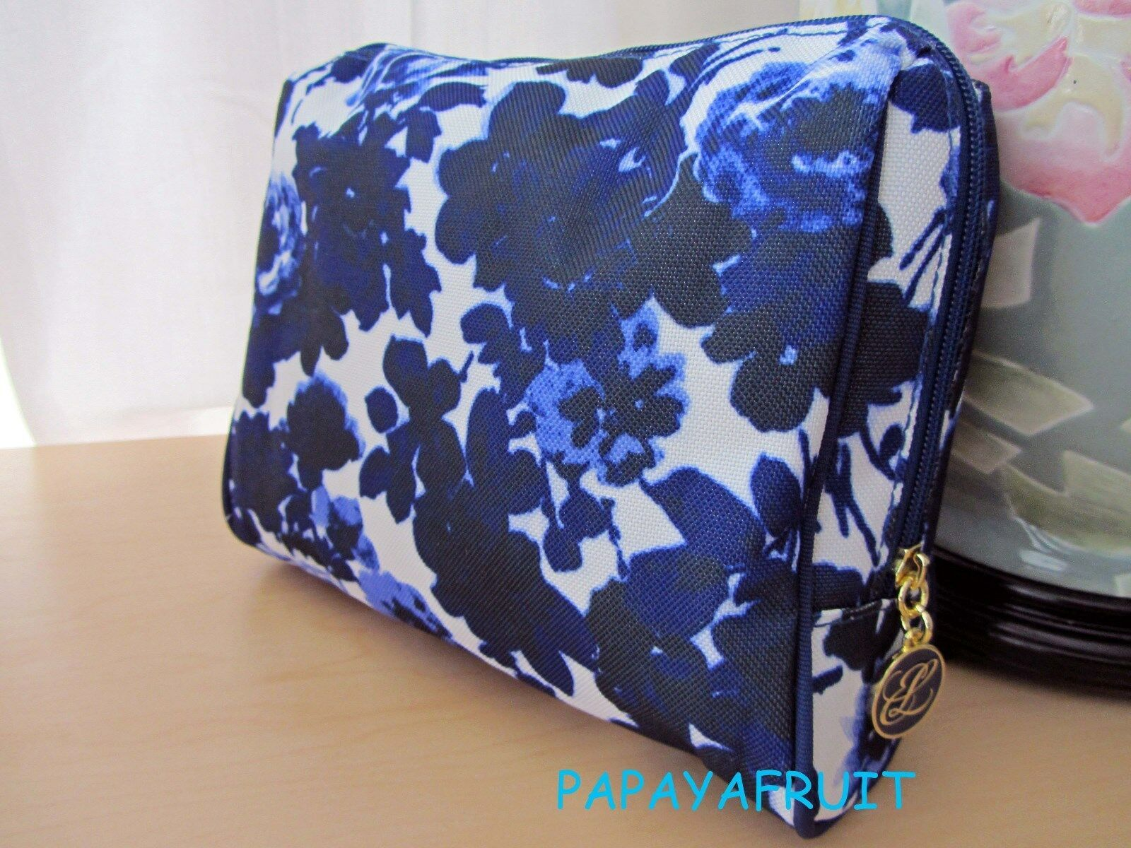 Primary image for Estee Lauder Floral White Blue Fabric Cosmetic Case Bag