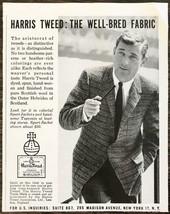 1960 Harris Tweed PRINT AD The Well-Bred Fabric Aristocrat of Tweeds - $8.69