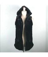 Seaton Surf Womens Sz Small Faux Fur Hooded Vest w Pockets Black Teddy Bear - $79.46
