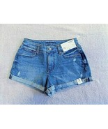 Arizona Women's Juniors Denim Shortie Shorts Size 17 Medium Blue Classic... - $23.75