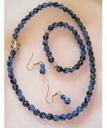Handcrafted Blue 3  piece Necklace Earrings Bracelet Set Czech glass beads - $21.22