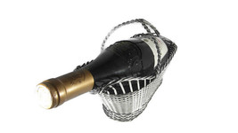 Christofle, Wine Bottle Holder, Vintage caddy Basket, Wine Carrier Tote,... - $150.00