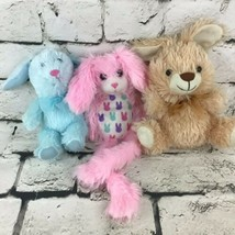 Bunny Rabbit Plush Lot Of 3 Blue Pink Brown Shaggy Easter Spring Gifts Soft Toys - $9.89