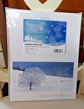 WilliamHouse Imprintable Greeting Cards -  Snowy Lone Tree w/ Gold Foil - $12.00