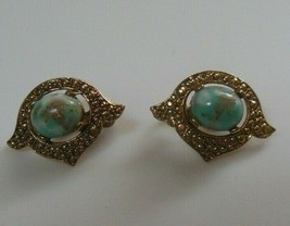 Vintage Signed Sarah Coventry Faux Turquoise Foil Clip-on Earrings - $14.84
