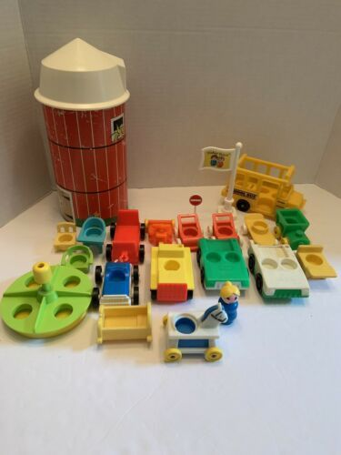 Lot 22 Vintage Fisher Price Little People accessory farm silo, cars, bus, school