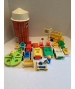 Lot 22 Vintage Fisher Price Little People accessory farm silo, cars, bus... - $36.99