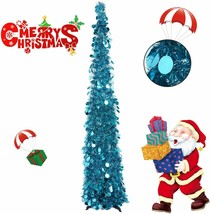 Collapsible Christmas Trees 5 Foot Artificial Tinsel Christmas Tree, Pop Up - $49.99
