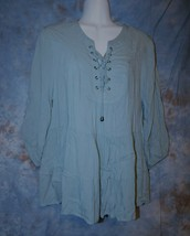 Womens Pretty Blue Entro 3/4 Sleeve Shirt Size Large excellent - $6.92