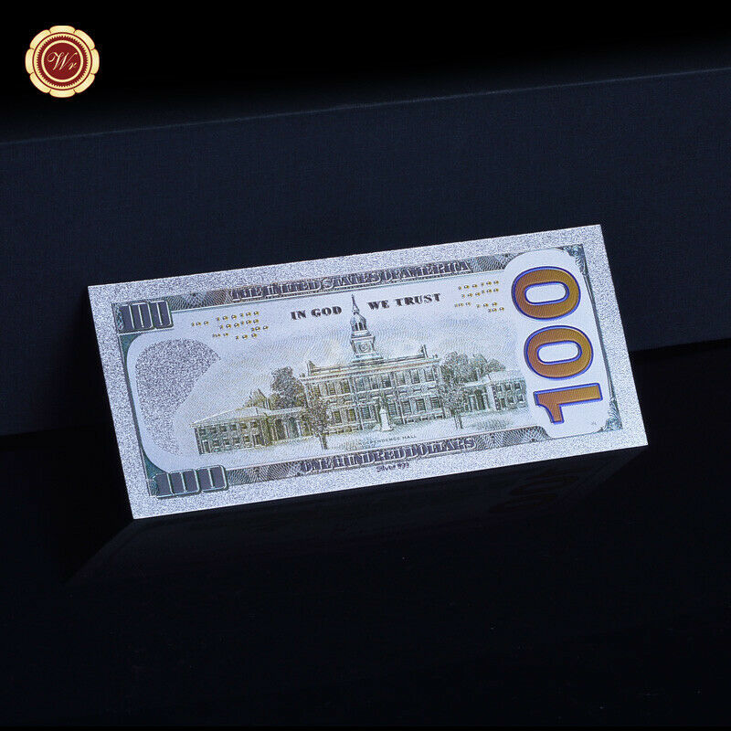 WR New US $100 Dollar Colored Silver Foil Banknote Paper Money Bill Collection