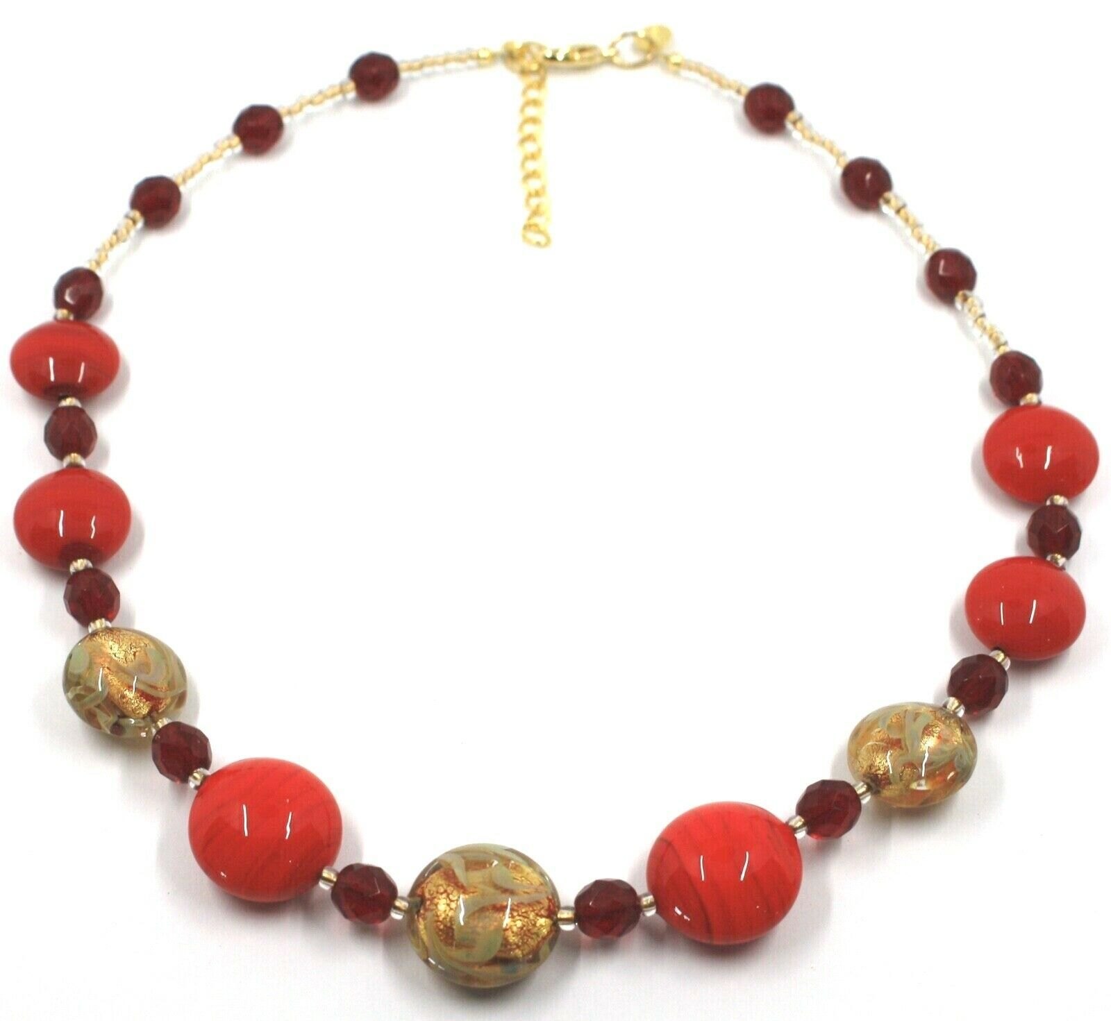 """NECKLACE RED YELLOW MURANO GLASS DISC & GOLD LEAF, MADE IN ITALY, 50cm, 20"""""""