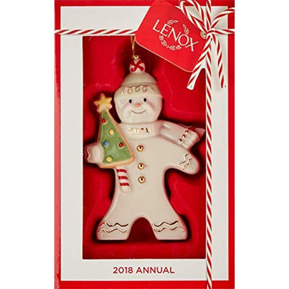 Lenox 2018 Gingerbread Man Ornament Figurine Annual Greetings Christmas NEW