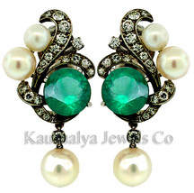 Victorian 0.88ct Rose Cut Diamond Emerald Pearl Charming Wedding Earrings - $266.48