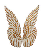 Shabby Chic Angel Wings Iron Wall Sculpture Decor Gold & Ivory,10'' x 33... - $197.01