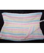 Vintage Baby Blanket Acrylic Open Weave Stripes Pastel WPL 1675 White Pi... - $32.18