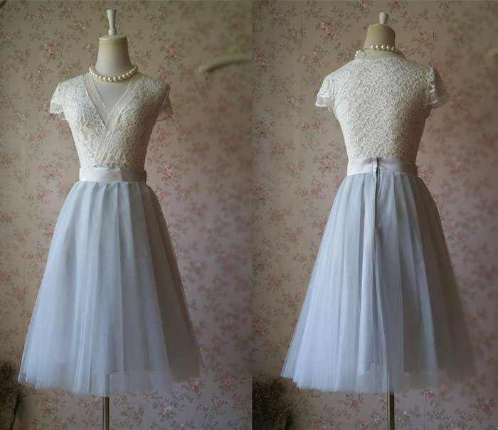GRAY TULLE SKIRT A Line Full Pleated Tea Skirts Custom Size for sale  USA