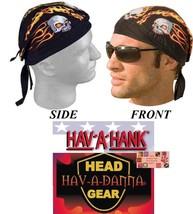 2-SKULL FLAMES Biker FITTED TIED HEAD BANDANA Hav-A-Danna DOO Do Du RAG ... - $11.99
