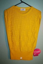 Vintage 80s Knit Slouch Top Sweater Vest Open Slit Arms Yellow New Large... - $19.39