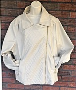 Lane Crawford 3X Beige Faux Leather Moto Jacket Zip Front Sleeves Pocket... - $24.75
