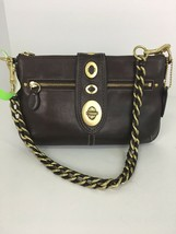 New Coach Evening Bag Legacy Brown Leather Turnlock F13756 Braided Strap... - $108.89