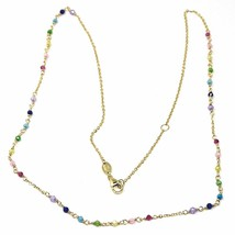 "18K YELLOW GOLD NECKLACE, MULTI COLOR FACETED CUBIC ZIRCONIA, ROLO CHAIN, 18"" image 2"