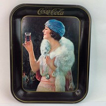 Vintage Coca-Cola Flapper Party Girl Serving Metal Tray 1973 USA - $34.64