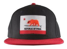 Team Phun Schwarz Rot Republik Von California Surfen Bär Patch Snapback Kappe NW