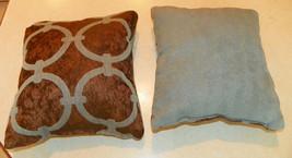 Pair of Light Blue Brown Print Throw Pillows  10 x 10 - $29.95