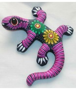 "Ceramic Clay Lizard Gecko Figurine Hand-painted Colorful Wall Art 6"" L4 - $16.82"