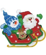 Design Work Sleigh Ride Santa Snowman Christmas Felt Wall Hanging Craft ... - $34.95