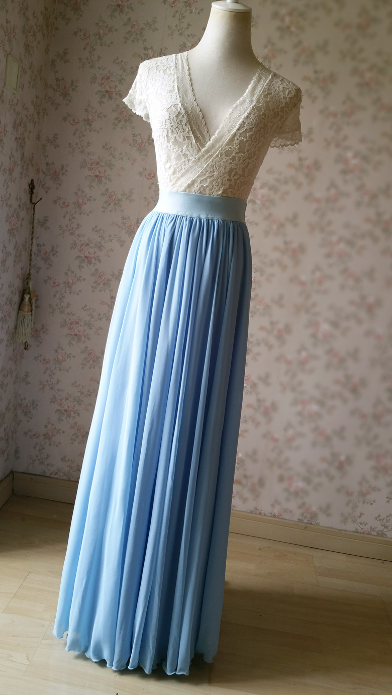 Lightblue maxi skirt chiffon wedding beach 780 2