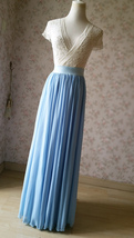 Blue Wedding Chiffon Skirt Flowy Blue Bridesmaid Chiffon Skirts Plus Size image 4
