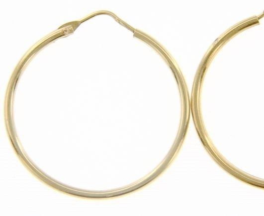 18K YELLOW GOLD ROUND CIRCLE EARRINGS DIAMETER 25 MM WIDTH 1.7 MM, MADE IN ITALY