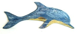 HAND CARVED BLUE WHITE WASH WOOD DOLPHIN WALL ART HANGING TROPICAL NAUTI... - $29.64