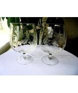"Set of 2 Elegant Optic Bowl Wheat Cut Flared Rim Brandy Glasses 6"" Tall - $44.54"